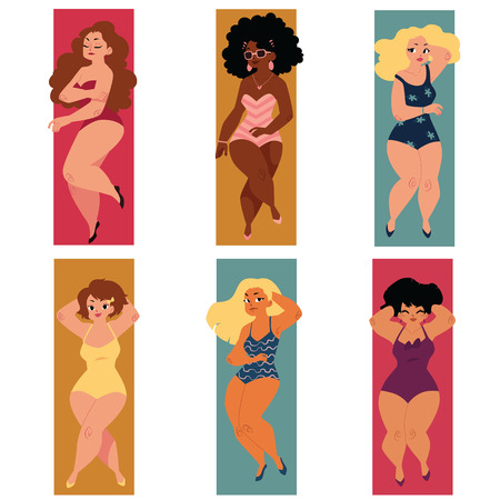 Illustration pour Set of plump, overweight, plus size curvy women, girls in swimming suits lying on the beach, cartoon vector illustration isolated on white background. Set of plump, overweight women in swimming suits - image libre de droit