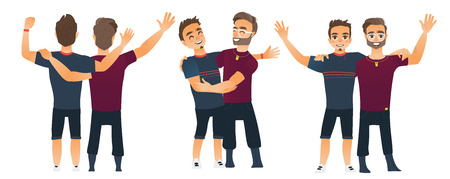 Illustration for Male friendship concept, couple of boys, best friends hugging each other, cartoon vector illustration isolated on white background. Set of boys, men, friends standing and hugging each other - Royalty Free Image