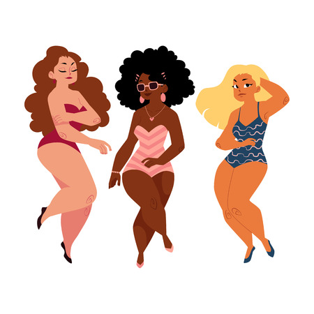 Ilustración de Three plump, curvy women, girls, plus size models in swimming suits, top view cartoon vector illustration isolated on white background. Beautiful plump, overweight women, girls in swimming suits - Imagen libre de derechos