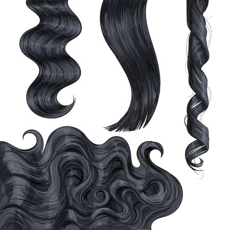 Illustration pour Set of shiny long black, fair straight and wavy hair curls, sketch style vector illustration isolated on white background. Set of hand drawn realistic healthy, shiny flaxen hair curls - image libre de droit