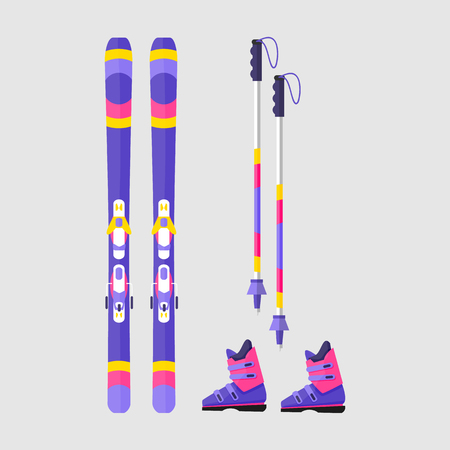 Ilustración de Pairs of skis, boots and poles, flat style vector illustration isolated on white background. Flat vector skis, boots and ski poles, winter sport, colorful illustration - Imagen libre de derechos