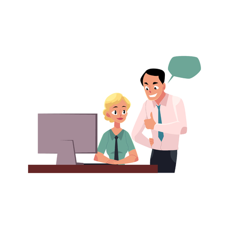 Ilustración de Boss managing female employee, woman working on computer, cartoon vector illustration isolated on white background. Boss showing approval to female employee, speech bubbles - Imagen libre de derechos