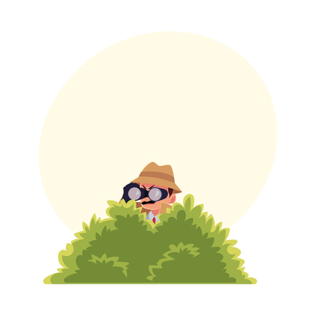 Ilustración de Funny detective character looking through binoculars from bush, spying, cartoon vector illustration with space for text. Full length portrait of funny detective character at surveillance work - Imagen libre de derechos