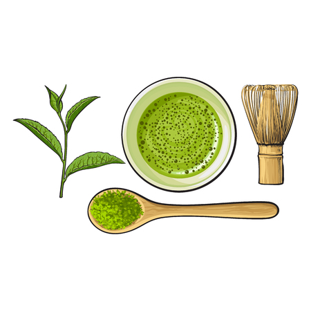 Ilustración de Top view set of matcha powder bowl, wooden spoon and whisk, green tea leaf, sketch vector illustration isolated on white background. Realistic hand drawing of matcha green tea preparation accessories - Imagen libre de derechos