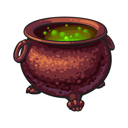 Ilustración de Halloween cauldron with boiling green potion inside, sketch style vector illustration isolated on white background. Hand drawn, sketch style caldron, caulron, witchcraft accessory, Halloween object - Imagen libre de derechos