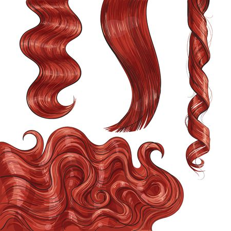 Illustration pour Set of shiny long red fair straight and wavy hair curls, sketch style vector illustration isolated on white background. Set of hand drawn realistic healthy, shiny red, flaxen hair curls - image libre de droit