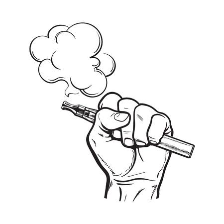 Ilustración de Male hand holding e-cigarette, electronic cigarette, vapor with smoke coming out, black and white sketch vector illustration isolated on background. - Imagen libre de derechos