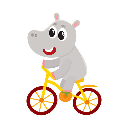 Illustration for Cute little hippo character riding bicycle, cycling, cartoon vector illustration isolated on white background. Little baby hippo, hippopotamus animal character riding bike, bicycle, cycling happily - Royalty Free Image
