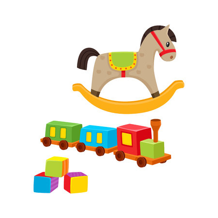Illustration for Baby wooden toys train, rocking horse, building blocks, cartoon vector illustration isolated on white background. Kid items -wooden train, rocking horse, building blocks for little kids, children - Royalty Free Image