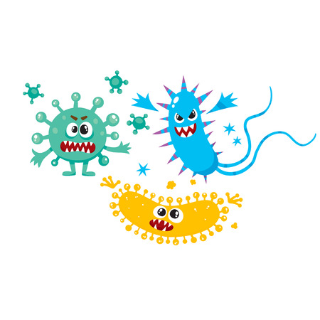 Illustrazione per Set of ugly virus, germ and bacteria characters, cartoon vector illustration on white background. Collection of ugly, scary bacteria, virus, germ monsters with human faces and sharp teeth - Immagini Royalty Free