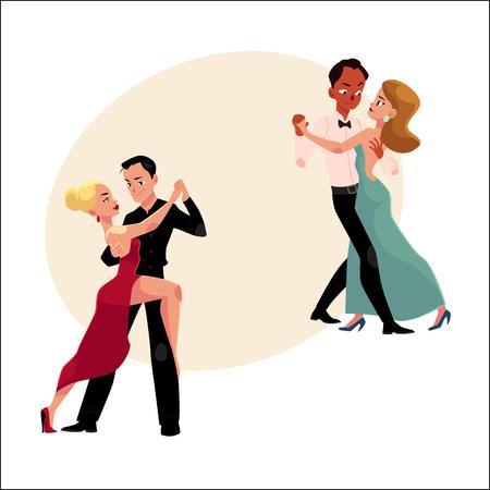Ilustración de Two couples of professional ballroom dancers dancing, looking at each other, cartoon vector illustration with space for text. Two ballroom dance couples dancing tango, waltz, rumba - Imagen libre de derechos