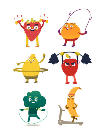 Illustration for Funny comic, cartoon style fruits and berries doing sport, fitness exercises, set of vector illustrations isolated on white background. Funny fruit and berry characters with human faces doing sport - Royalty Free Image