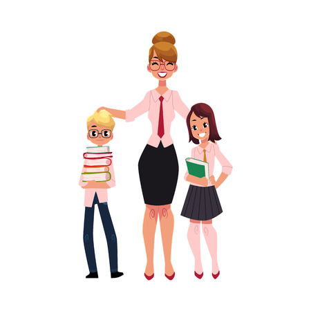 Illustration for Full length portrait of female teacher and two students - boy and girl holding books, cartoon vector illustration isolated on white background. Teacher and two students standing together - Royalty Free Image