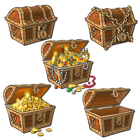Illustration pour Open and closed pirate treasure chests, locked, empty, full of coins and jewelry, hand drawn cartoon vector illustration isolated on white background. Set of hand drawn treasure chests, full and empty - image libre de droit