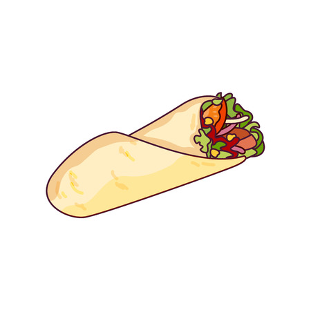Illustrazione per Vector chicken, vegetables roll, fast food meal. Doner gebab, shawarma flat cartoon illustration isolated on a white background. Arabic, eastern food, hand drawn image. Buritto, taco - mexican food - Immagini Royalty Free