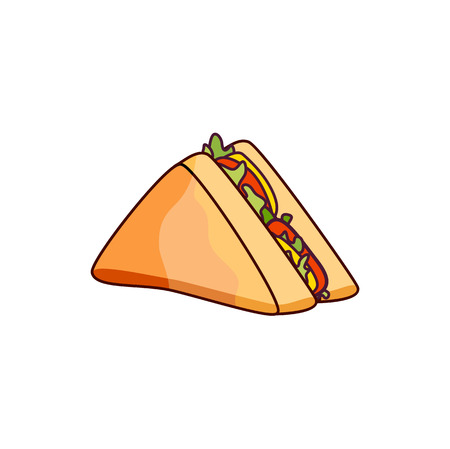 Illustration pour Vector sandwich with vegetables. Fast food flat cartoon isolated illustration on a white background. Triangular fresh sandwich with cheese, tomato and salad - image libre de droit