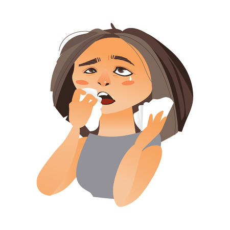 Ilustración de Woman with rhinitis wiping nose with paper tissue, having flu, allergy, cartoon vector illustration isolated on white background. Half length portrait of girl, woman suffering rhinitis, runny nose - Imagen libre de derechos