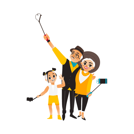 Illustration for Vector adult couple and girl makes selfie. Isolated illustration on a white background. Man woman and kid, child in fashion clothing makes photo by selfie stick on vacation - Royalty Free Image