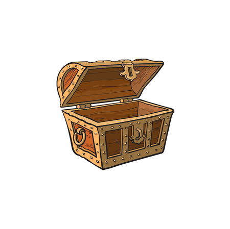Ilustración de vector opened empty wooden treasure chest. Isolated illustration on a white background. Flat cartoon symbol of adventure, pirates, risk profit and wealth. - Imagen libre de derechos