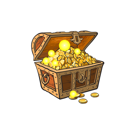 Ilustración de opened wooden treasure chest full of golden coins. Isolated illustration on a white background. - Imagen libre de derechos