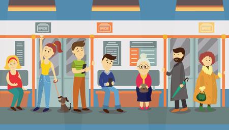 Ilustración de People in subway train car, sitting on seats, standing and holding handrails, cartoon vector illustration. Full length portrait of people, men and women, sitting and standing in subway train - Imagen libre de derechos