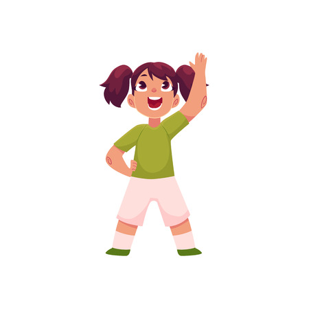 Illustrazione per Little girl with ponytails doing morning exercises, part of her daily routine, cartoon vector illustration isolated on white background. Little girl in shorts and t-shirt doing morning exercises - Immagini Royalty Free