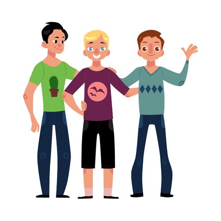 Illustration for Male friendship concept of boys, men, best friends hugging each other, cartoon vector illustration isolated on white background. Boys, men, friends standing and hugging each other - Royalty Free Image