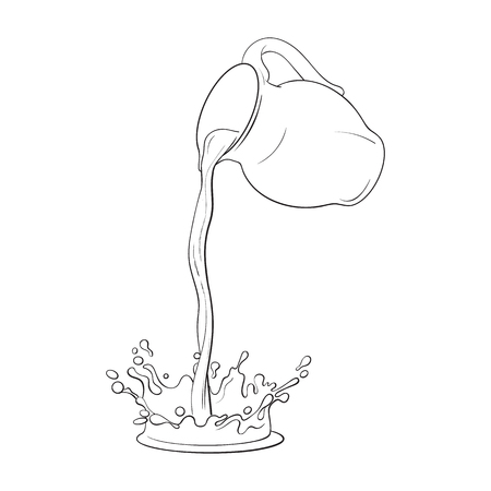 Ilustración de Drawing of liquid, drink pouring from jar, making a splash, sketch vector illustration isolated on white background. Hand drawn glass jar with liquid milk pouring from it into splash - Imagen libre de derechos