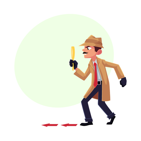 Illustration pour Detective character following, tiptoeing after somebody with magnifying glass, cartoon vector illustration with space for text. Full length portrait of funny detective character at work - image libre de droit
