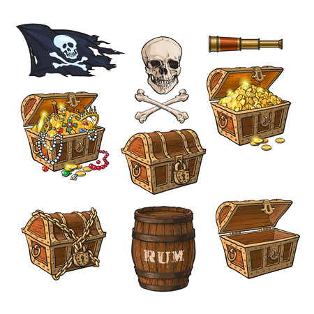 Illustration pour Pirate set - treasure chests, jolly Roger flag, rum barrel, field glass, skull and bones, hand drawn cartoon vector illustration isolated on white background. Hand drawn cartoon pirate set - image libre de droit