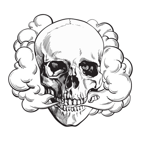 Illustration for Smoke coming out of fleshless skull, death, mortal habit concept, black and white sketch style vector illustration isolated on background. - Royalty Free Image
