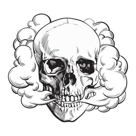 Ilustración de Smoke coming out of fleshless skull, death, mortal habit concept, black and white sketch style vector illustration isolated on background. - Imagen libre de derechos
