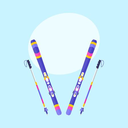 Ilustración de Pairs of skis and sticks, poles, flat style vector illustration with space for text. Flat vector ski and ski poles, colorful illustration - Imagen libre de derechos