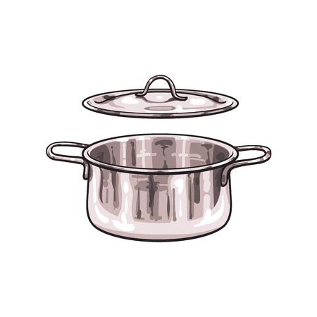 Ilustración de vector metal chrome cooking pot sketch cartoon isolated illustration on a white background. Kitchenware equipment utensil objects concept - Imagen libre de derechos