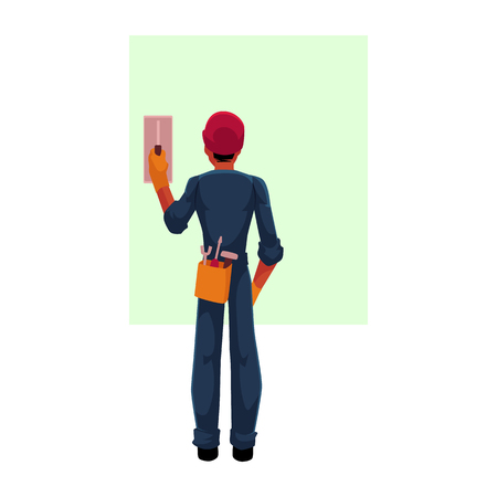 Illustration pour Construction worker, electrician, technician in hardhat and jumpsuit switching contact breaker, cartoon vector illustration with space for text. . Full length, rear view portrait of electrician - image libre de droit