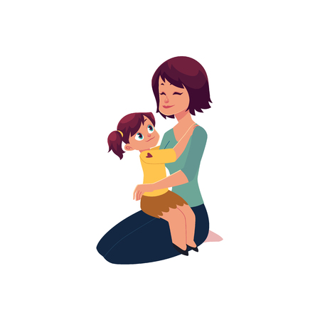 Ilustración de Mom and daughter hugging, embracing each other, little girl sitting on her mom knee, cartoon vector illustration isolated on white background. Happy cartoon mother and daughter hugging each other - Imagen libre de derechos