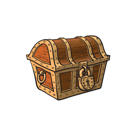 Illustration pour vector closed locked wooden treasure chest. Isolated illustration on a white background. Flat cartoon symbol of adventure, pirates, risk profit and wealth. - image libre de droit
