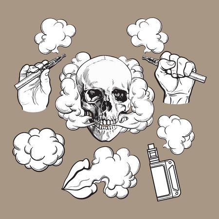 Ilustración de Vaping related elements, symbols - smoke, skull, vaporizer, e-cigarette, black and white sketch vector illustration on color background. - Imagen libre de derechos