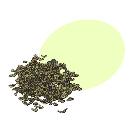 Ilustración de Hand drawn pile, heap, handful of dry, fermented green tea leaves, sketch vector illustration isolated on white background with speech bubble - Imagen libre de derechos