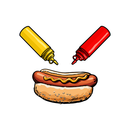 Ilustración de Vector sketch sausage hot dog with mustard sauce, ketchup squeeze bottles set. Fast food hand drawn cartoon isolated illustration on a white background. fresh sandwich with sauce and salad - Imagen libre de derechos