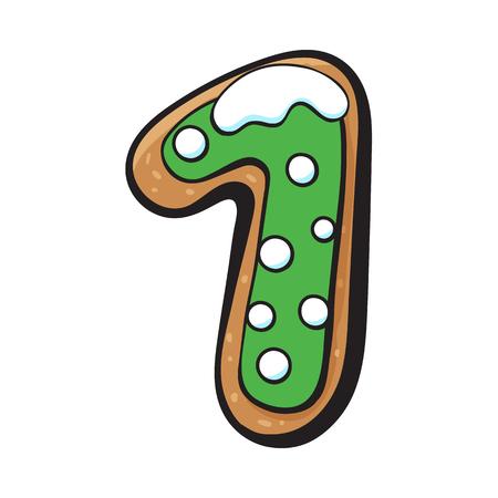 Ilustración de Glazed one, 1 number shaped homemade Christmas gingerbread cookie, sketch vector illustration isolated on white background. Decorated Christmas glazed gingerbread cookie in shape of one, 1 number - Imagen libre de derechos