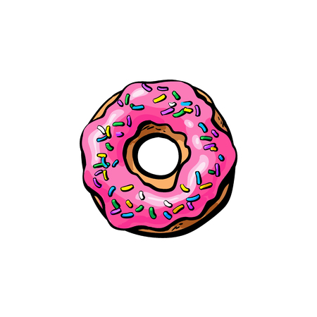 Illustration pour Vector sketch donut with pink glaze icing and sprinkles cartoon isolated illustration on a white background. Sweet delicious dessert food, snack - image libre de droit