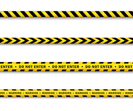 Illustration pour vector yellow black police tape set. Flat cartoon isolated illustration on a white background. Yellow danger tape with black stripes enclosing for forencics, investigators. - image libre de droit