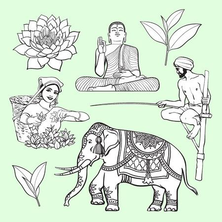 Ilustración de Sri Lanka country symbol set - water lily, Buddha statue, elephant, tea, stilt fishing, cartoon vector illustration isolated on white background. Set of hand drawn Sri Lanka cultural symbols - Imagen libre de derechos