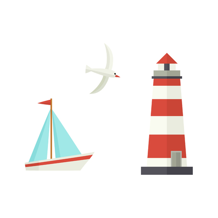 Illustrazione per Nautical, marine set - sailboat, lighthouse and flying seagull, flat cartoon vector illustration isolated on white background. Nautical elements - sailboat, ship, lighthouse, seagull - Immagini Royalty Free