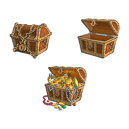 Illustration for vector wooden treasure chest set. Isolated illustration on a white background. Opened, full of golden coins, closed and chained Flat cartoon symbol of adventure, pirates, risk profit and wealth. - Royalty Free Image