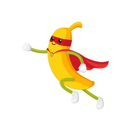 Illustration pour vector flat cartoon banana character in red cape, mask dashing. Isolated illustration on a white background. Funny stylized humanized fruit and vegetable super hero protecting peoples health concept. - image libre de droit
