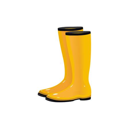 Ilustración de Pair of yellow waterproof rain boots, wellingtons, typical autumn footwear, cartoon vector illustration isolated on white background. Cartoon style shiny yellow autumn rubber, rain boots, gumboots - Imagen libre de derechos