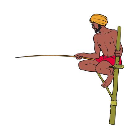 Ilustración de vector sketch cartoon local indian man in handscarf pagri or turban fishing by wooden stick sitting at wooden stilt pillar. Traditionally dressed male character, hand drawn sri-lanka , india symbols - Imagen libre de derechos