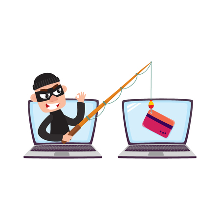 Illustration pour Hacker in black mask stealing credit card details with fishing rod, phishing attack concept, cartoon vector illustration isolated on white background. Cartoon computer hacker, phishing attack - image libre de droit